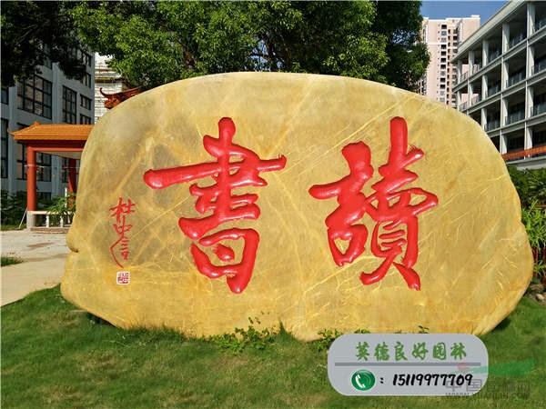 校园黄蜡石刻字石--读书